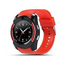 """V8 1.22"""" Round Screen MTK6261 IP65 Android Bluetooth Smart Watch With Sim card Toolkit - Red"""