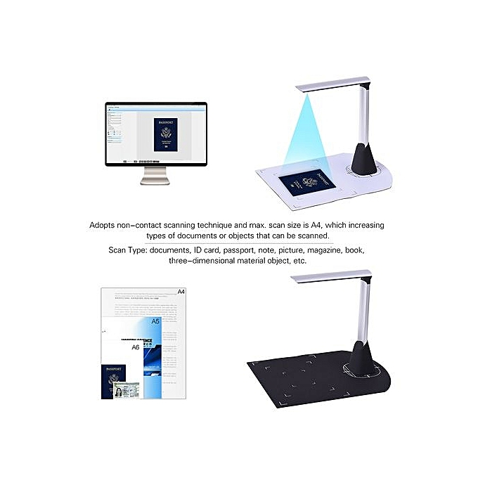 Portable High Speed USB Book Image Document Camera Scanner 5 Mega-pixel HD  High-Definition Max  A4 Scanning Size With OCR Function LED Light For