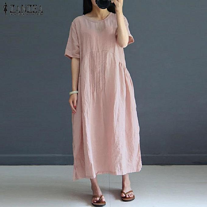 ed82d09200 ZANZEA Women Short Sleeve Maxi Sundress Kaftan Retro Club Beach Party Dress