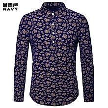 Men Shirt Fashion Men long sleeve Shirt Cashew Print Henry led Big Size Casual Shirt Slim Fit Male Shirt Casual Shirt - dark blue