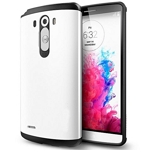 UNIVERSAL TPU Silicone Slim Tough Armor Shell Hybrid Bag Hard Shockproof Back Cover Defender Case For LG G3 Optimus D855 D850 D830 F400k (Color:White)