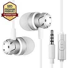 In-Ear Earphone Bass Sound Music Headset Sport Earphones with Mi- Silver+white