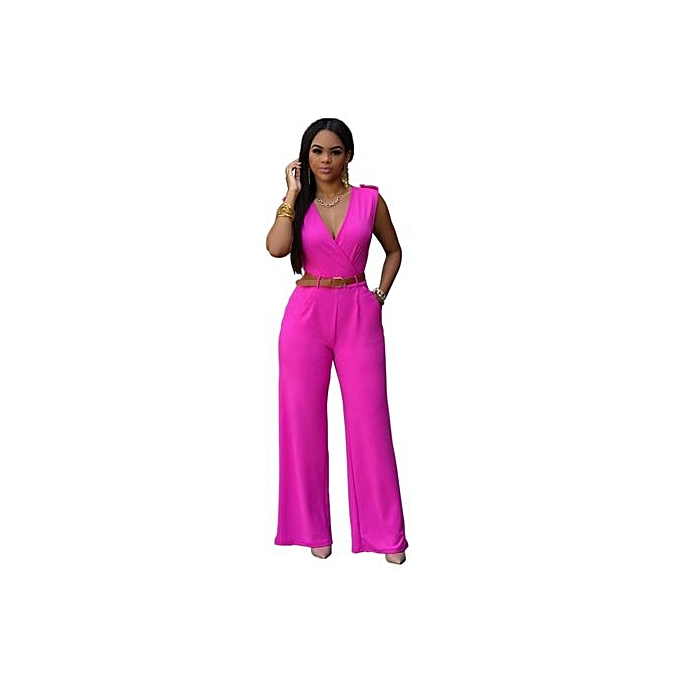 85291f8efc3 Grace Women Solid Color Slim Fit Jumpsuit Elegant Solid Color Jumpsuit With  Belt-Roes Red
