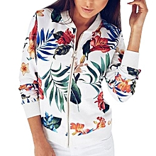 Women Ladies Printing Long Sleeve Tops Zipper Jacket Outwear Loose Tops WH/L