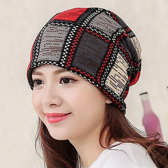 Women Cotton Ethnic Plaid Beanie Hat Vintage Good Elastic Warm Winter  Turban Scarf Caps 1f4adb65f8c