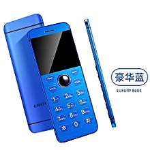 New Super Mini Phone Ultrathin Card Metal Body Bluetooth 2.0 Dialer MP3 Dual SIM Card Mini Phone 1.54Inch Phone V16-blue