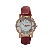 Maroon Red Ladies  PU Leather Strap  Watch.