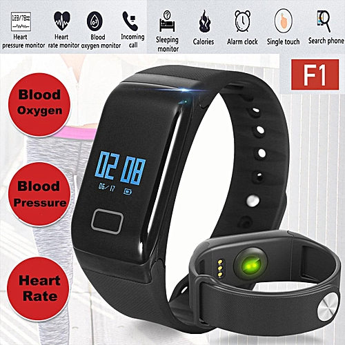 3bf8f05c3 Generic F1 Fitness Blood Pressure Oxygen Heart Rate Monitor Smart Watch  Band Bracelet (Black) WANKAI
