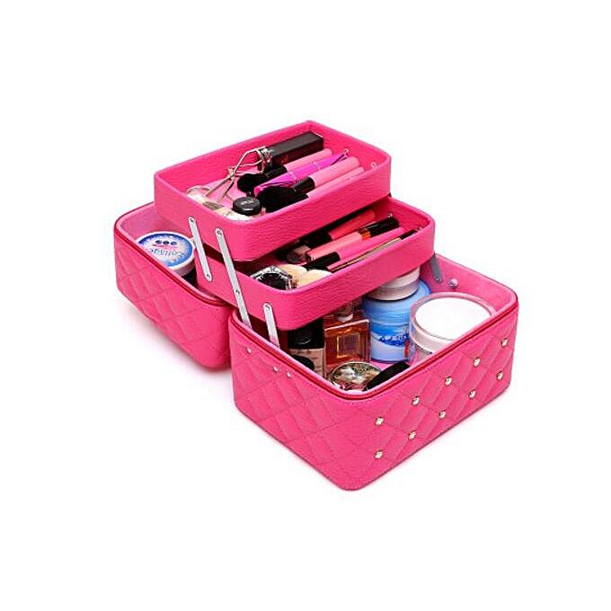 cc804106ead0 3 Layer Large Capacity Women Professional Makeup Case Diamond Stud Cosmetic  Box Travel Storage Case Organizer Vanity Beauty Case(3 Layers Rose)