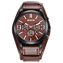 Relogio Masculino SKONE Chronograph Mens Watches Top Brand Luxury Fashion Amry Military Wrist Watch Men Leather Watches New (Brown) WWD