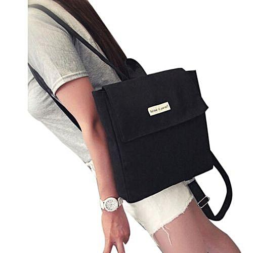 Fashion Zetenis Girl Canvas School Bag Travel Cute Backpack Satchel Women Shoulder Rucksack BK -Black