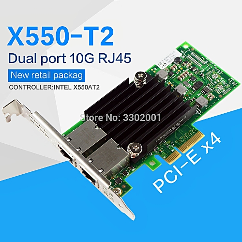PCI-E X4 X550-T2 10G Ethernet Server Adapter Dual Port RJ45 Converged  Network Adapter X550T2BLK( )