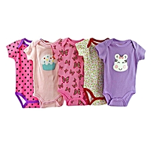 Carters 5 Pack Assorted Cotton body Suits - Short Sleeved Different Colours