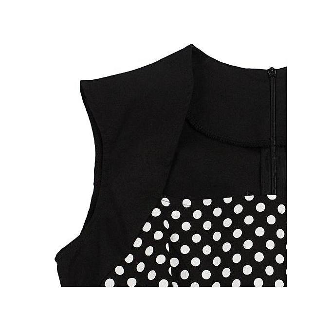 6f182f201a Fashion Polka Dot Semi Formal Midi Skater Dress - BLACK   Best Price ...