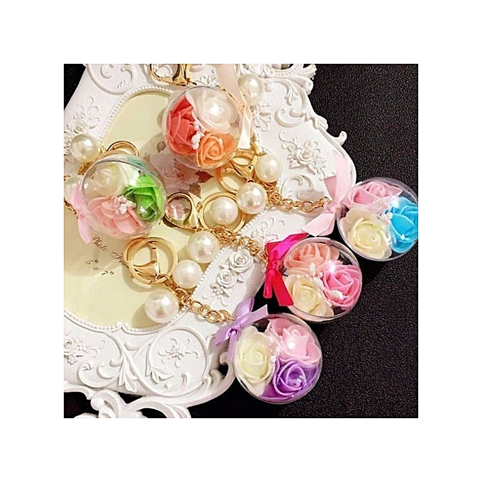 ... Transparent Ball 3 Rose Flower Unique Women s Keychain Handbag  Ornaments Daily Crystal Gold Plated Key Ring 0da8f34990