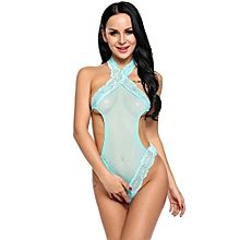Women Sexy One Piece Halter Lingerie Bodysuit Back Tie Teddy Nightwear