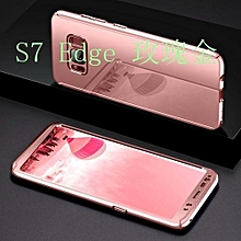 Bakeey Plating 360° Full Body Hard PC Front+Back Cover Case+Soft Screen Protector For Samsung Galaxy S7 Edge Rose Gold