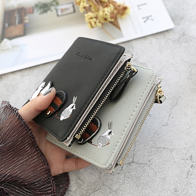 0bc42375f149 High quality Women's Wallet Lovely Cartoon Animals Short Leather Female  Small Coin Purse Hasp Zipper Purse Card Holder For Girls(Green)