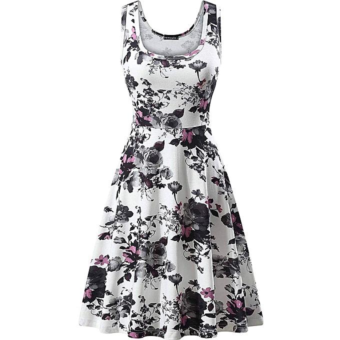 7d44a17b5b73 Hiaojbk Store Women's Summer Casual Lady Print O-Neck Floral Vest  Sleeveless Beach Mini Dress