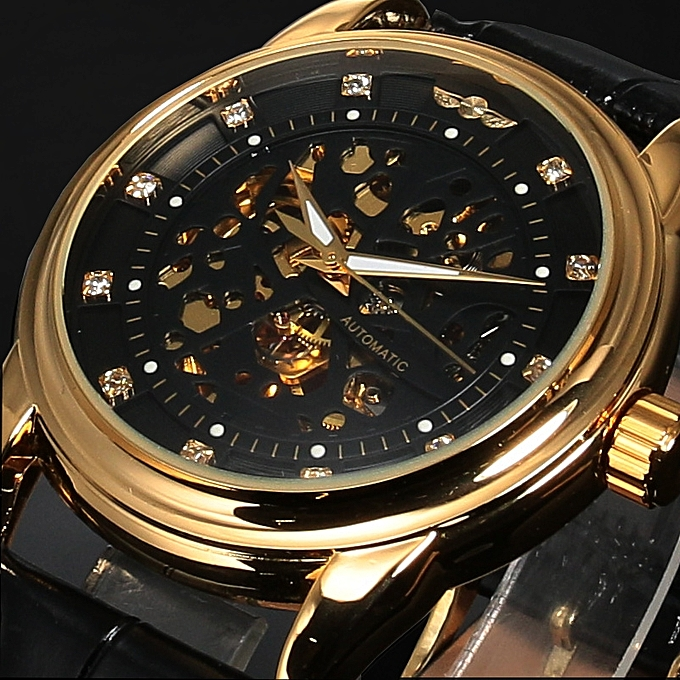 dfd5453507a Luxury Royal Diamond Design Black Gold Mens Watches Male Skeleton  Mechanical Watch