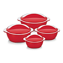 Set of 4 Picasso Thermo Dish Hot or Cold Casserole Serving Bowls with Lids Red