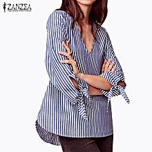 ZANZEA Women Fashion Casual Shirt Striped V Neck Long Sleeve Ladies Blouse Tops