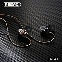 High quality remax RM-580 ear-style high-definition microphone Wire control dual active-coil earphone stereo music phone headset