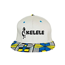 Light Grey And Blue Snapback Hat With Kelele Colors On Brim
