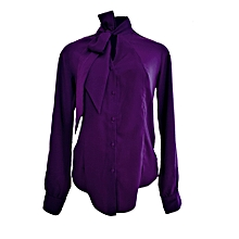 Purple Pussy Bow Blouse