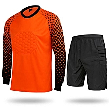 Hot Sale Men's Football Sports Goalkeeper Jersey Long Sleeves Shirts With Shorts-Orange(SY11)