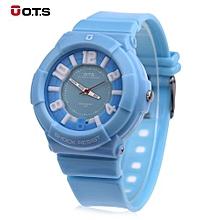 Women Quartz Watch Water Resistance 3D Arabic Numerals Display PU Strap Wristwatch-BLUE