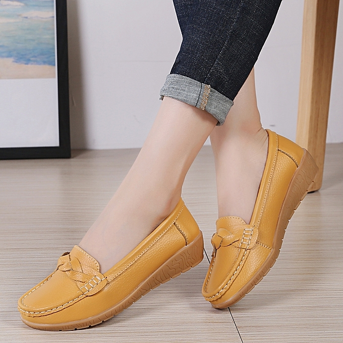 100120154a1 EUR 35-42 Flats Shoes Woman Cow Leather Women Flats Slip on Women s Loafers  Female