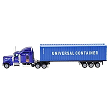 Nice 1:65 American Truck Container Vehicle Model Alloy Simulation Model Car Toy(Blue)