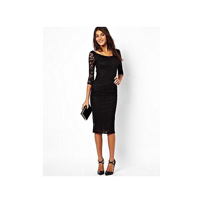 f846627c484b Nice Sexy Lady Pure Color Dress Women s Lace Hot Sale Dress Elegant Knee  Legnth MIDI Sleeve ...