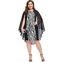 Print Sheath Cape Plus Size Dress-BLACK