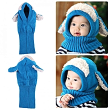 Dog Style Comfortable Winter Baby Hat And Scarf Joint Knitted Caps For Infant Boys Girls Blue