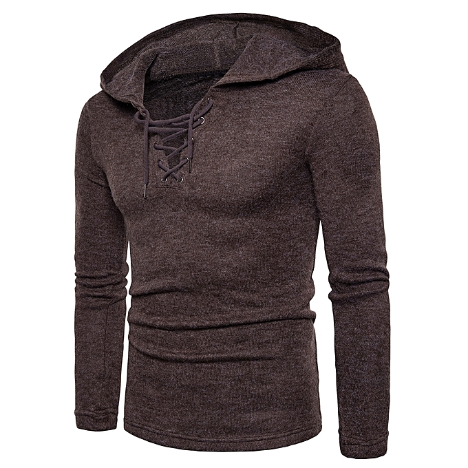 Fashion Hooded Lace Up Long Sleeve Knitted Sweater - COFFEE   Best ... 0fa4c3e27