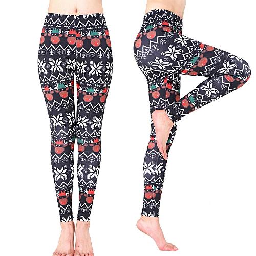 Christmas Running Leggings.Women Xmas Sports Gym Yoga Running Fitness Leggings Pants Athletic Trouse Multicolorxl