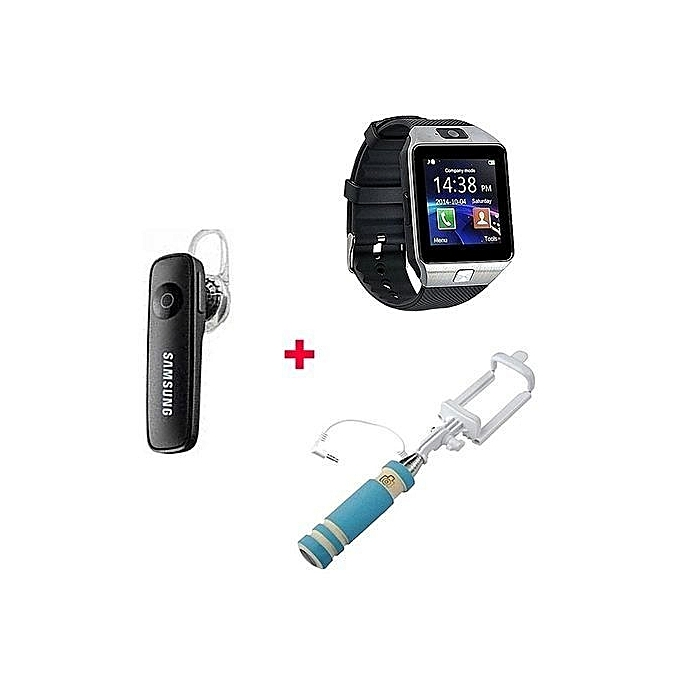 Gift Bundle Of DZ09 Smart Watch Phone With Free Bluetooth headset and selfie stick -  Silver Black