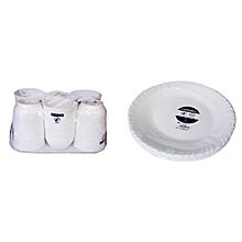 6 Pcs Dinner Plates + 6 Pcs of Cups - White