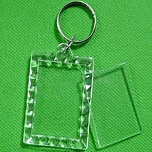1/5/10X Transparent Blank Keyring Insert Photo Picture Frame Split Keychain Ring