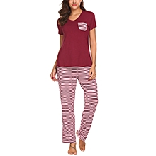 Women V-Neck Short Sleeve Striped T-Shirt & Pants Pajama Set Sleepwear-Dark Red