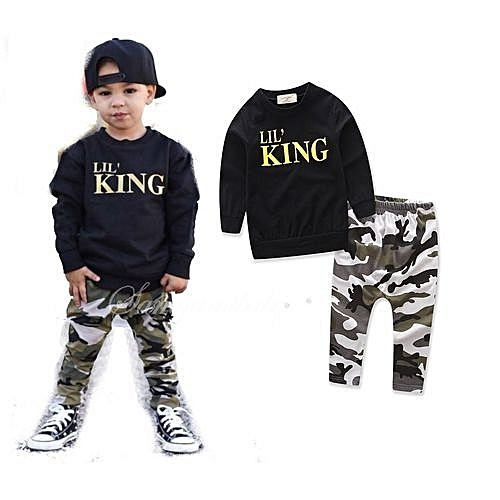 90b13113 Generic New Style Toddler Kids Baby Boy Letter T Shirt Tops+Camouflage  Pants Outfits Clothes Set.