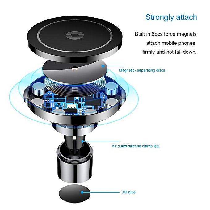 size 40 53de6 beff9 Baseus Big Ear Qi Wireless Charger Magnetic Car Mount Fast Qi Wireless  Charger For iPhone X 8 Plus Samsung S8 S6 Wireless Charging Charger Pad ...