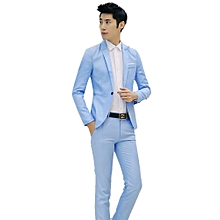Sanwood Men Slim Fit Business Leisure One Button Formal Two-Piece Suit For Groom Wedding -Sky Blue