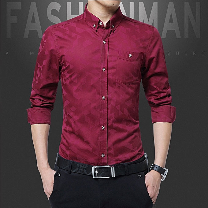 9bbdb885be6 Cotton Slim Fit Office Formal Shirts Men Long Sleeve Business Shirts (Red)