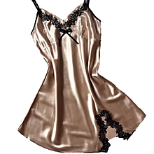 Women's Suspenders Nightdress Sexy V-neck Silk Satin Pajamas Dress