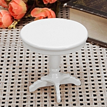 1:12 Dollhouse Miniature Furniture Wooden Round Coffee Table White