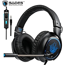 SADES R5 PS4 Headset Gamer 3.5mm Plug Game Headsets PC Gaming Headphones Stereo Earphones with Microphone Mic for Computer New Xbox One Mobile Phone Laptop Mac (Black)