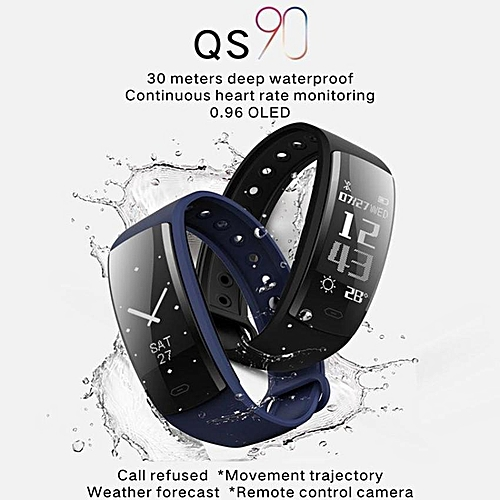 QS90 Wristband Heart Rate Blood Pressure Monitoring Multiple Modes Sports  Smart Watch For IOS And Android Phone (Dark blue) TXSHOP